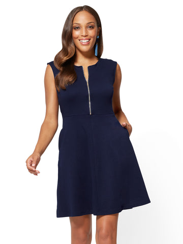 Cotton Zip-Front Fit & Flare Dress in Grand Sapphire