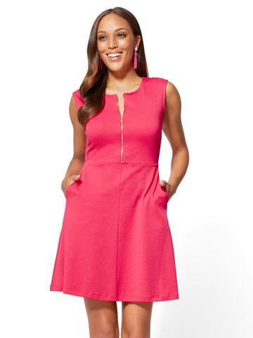Cotton Zip-Front Fit & Flare Dress in Tea Berry