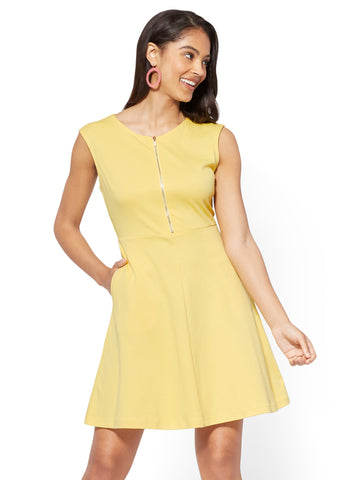 Cotton Zip-Front Fit & Flare Dress in Daffodil