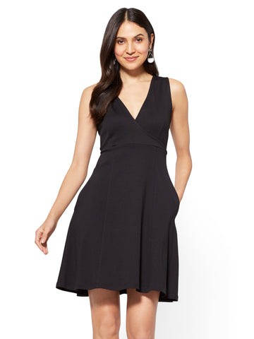 Cotton Wrap-Front Fit & Flare Dress in Black