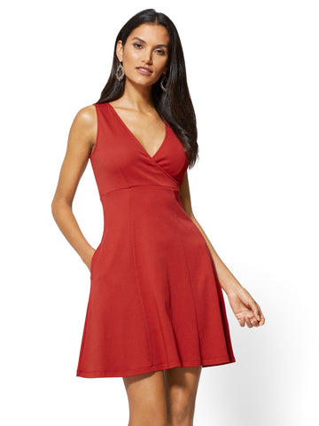 Cotton Wrap-Front Fit & Flare Dress in Stoplight Red