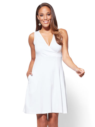 Cotton Wrap-Front Fit & Flare Dress in Optic White