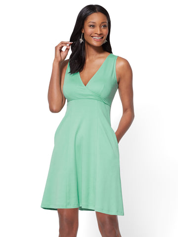 Cotton Wrap-Front Fit & Flare Dress in Creamy Mint
