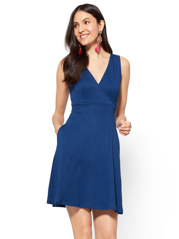 Cotton Wrap-Front Fit & Flare Dress in True Indigo
