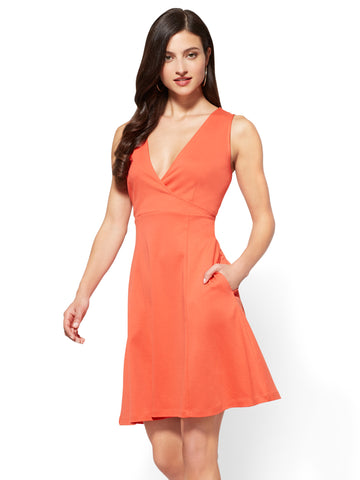 Cotton Wrap-Front Fit & Flare Dress in Papaya