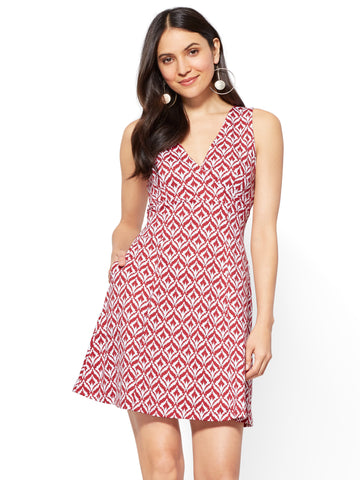 Cotton Wrap-Front Fit & Flare Dress - Graphic Print in Red