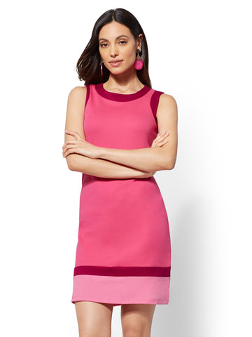 Colorblock Cotton Shift Dress in Bright Pink