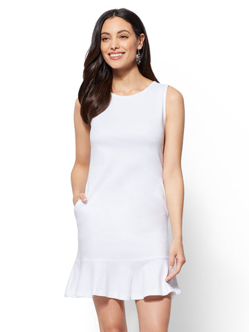 Flounced-Hem Cotton Flare Dress in Optic White