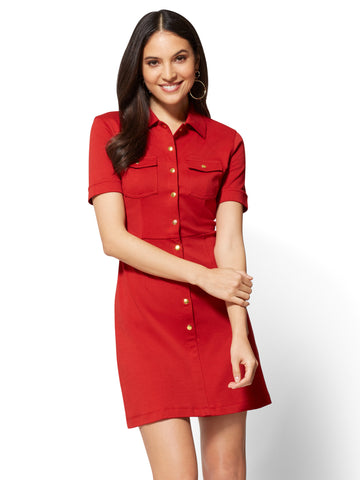 Cotton Shirtdress in Stoplight Red