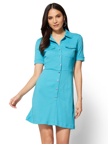 Cotton Shirtdress - Solid  in Turquoise