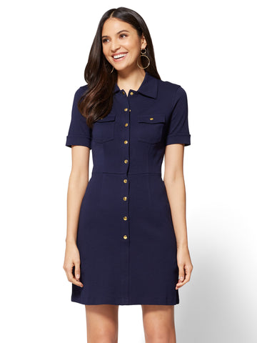 Cotton Shirtdress - Solid  in Grand Sapphire