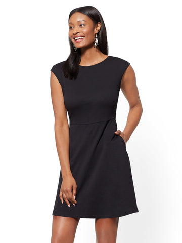 Bateau-Neck Cotton Fit and Flare Dress in Black