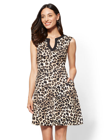 Gwen Leopard Fit and Flare Cotton Dress in Black
