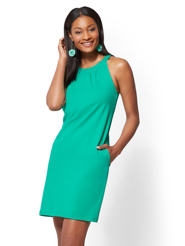 Cotton Halter Shift Dress in Tickled Green