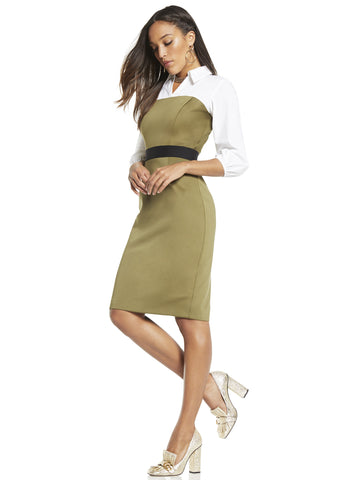 Twofer Sheath Dress in Olive