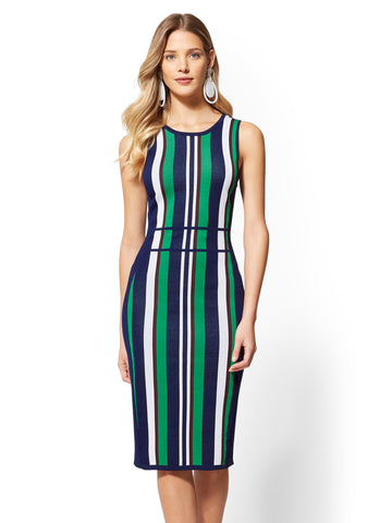Stripe Sweater Sheath Dress in Grand Sapphire