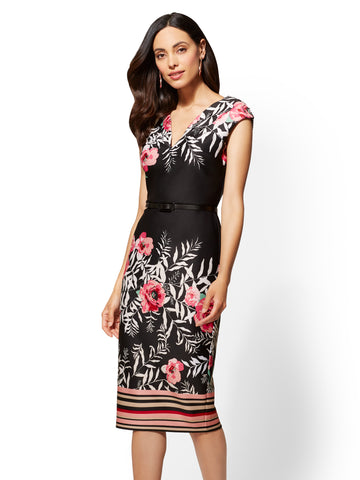 7th Avenue - Printed Black Sheath Dress in Black