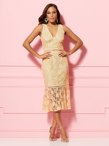 Alexia Sheath Dress - Eva Mendes Party Collection in Bisque