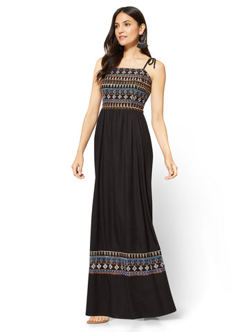 Embroidered Maxi Dress in Black