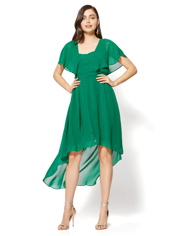 Flutter-Sleeve Hi-Lo Dress in Glenwood Green
