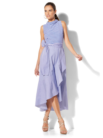 7th Avenue - Mixed-Stripe Ruffle Dress in Optic White