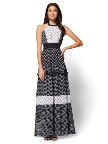 Halter Maxi Dress in Black & White