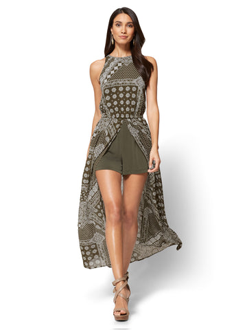 Slit-Detail Maxi Dress - Bandana Print in Woodland Green