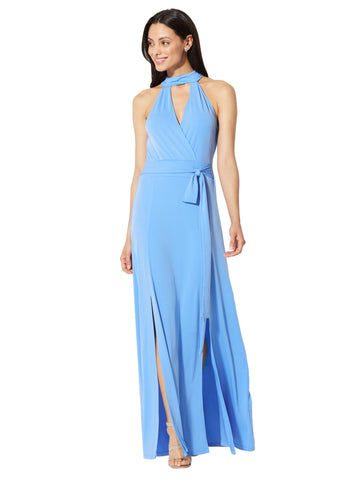 Halter Maxi Dress in Virtuous Blue