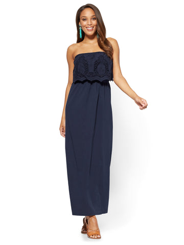 Crochet-Accent Strapless Maxi Dress in Grand Sapphire