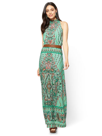 Halter Maxi Dress - Paisley in Creamy Mint