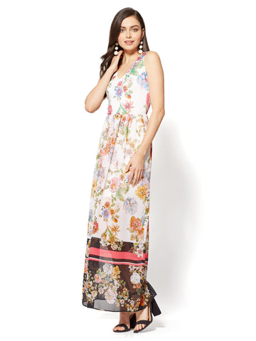 Short-Sleeve Maxi Dress - Pink Floral in Rose Petal