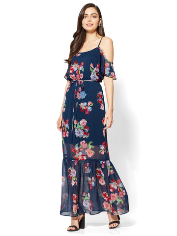 Cold-Shoulder Ruffle Maxi Dress in Navy