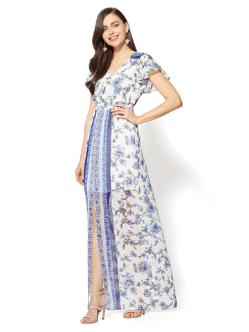 Short-Sleeve Maxi Dress - Border & Floral Print in Grand Sapphire