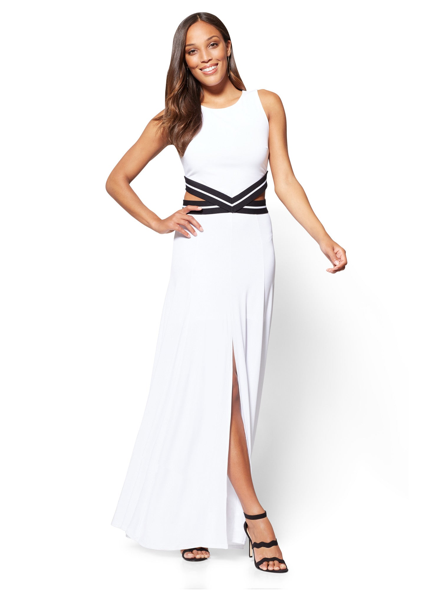 New York Company 7th Avenue Cutout Maxi Dress In Optic White