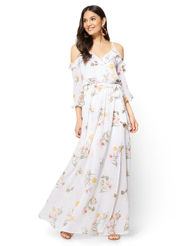 Ruffled Cold-Shoulder Maxi Dress - Floral in Paper White