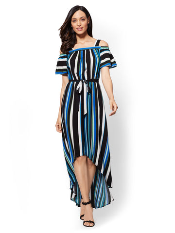 Striped Cold-Shoulder Maxi Dress in Blue Gem