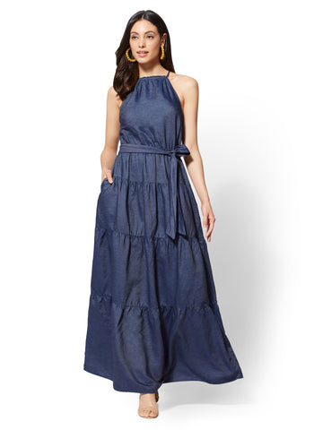 Ruffled Halter Maxi Dress - Dark Wash in Dark Wash Scs