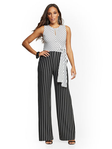 6431f35097f4 NEW YORK   COMPANY Stripe Tie-Front Jumpsuit in Paper White
