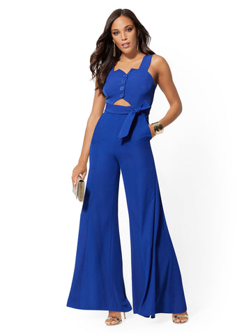 Cutout Jumpsuit - 7th Avenue in Amplified Blue