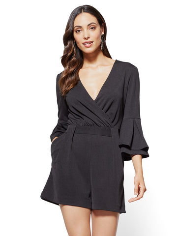 7th Avenue - Bell-Sleeve Romper in Black