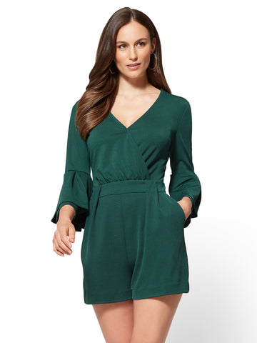 7th Avenue - Bell-Sleeve Romper in Velvet Green