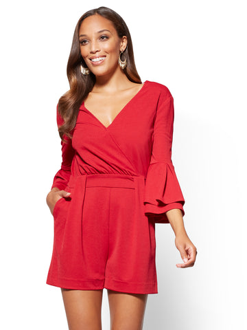 7th Avenue - Bell-Sleeve Romper in Rustic Fire