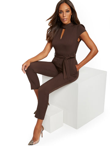 Mock-Neck Madie Jumpsuit - 7th Avenue in Luxe Brown