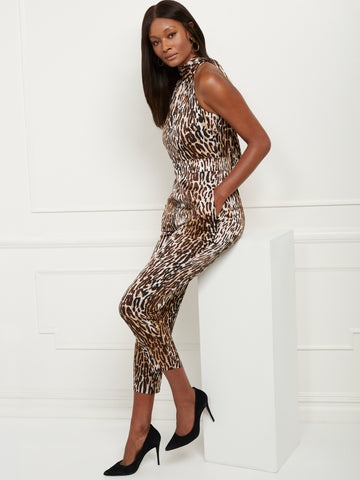 Leopard-Print Halter Jumpsuit in Black