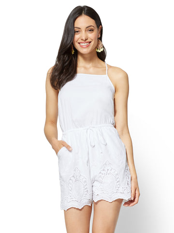 Lace-Trim Halter Romper in Optic White
