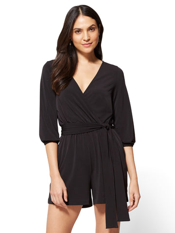7th Avenue Bubble-Sleeve Romper in Black
