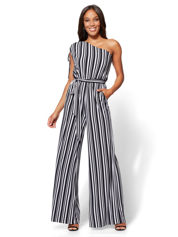 7th Avenue One-Shoulder Jumpsuit - Stripe in Black & White