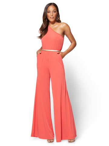 One-Shoulder Jumpsuit in Ultra Red