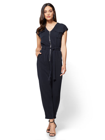 Zip-Front Jumpsuit in Deep Navy
