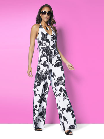 Halter Jumpsuit - Palm Leaf Print in Black